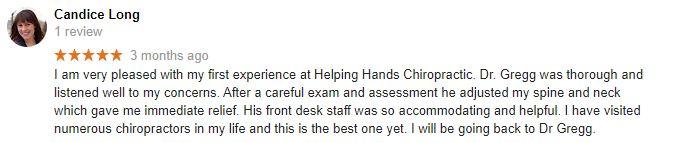 Helping Hands Chiropractic Patient Testimonial